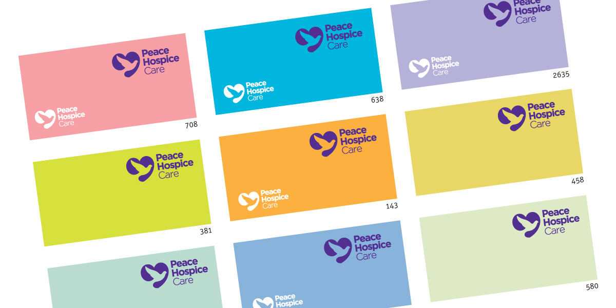 Peter Magnus Design - Watford brand designers, Peace Hospice Care brand colour options