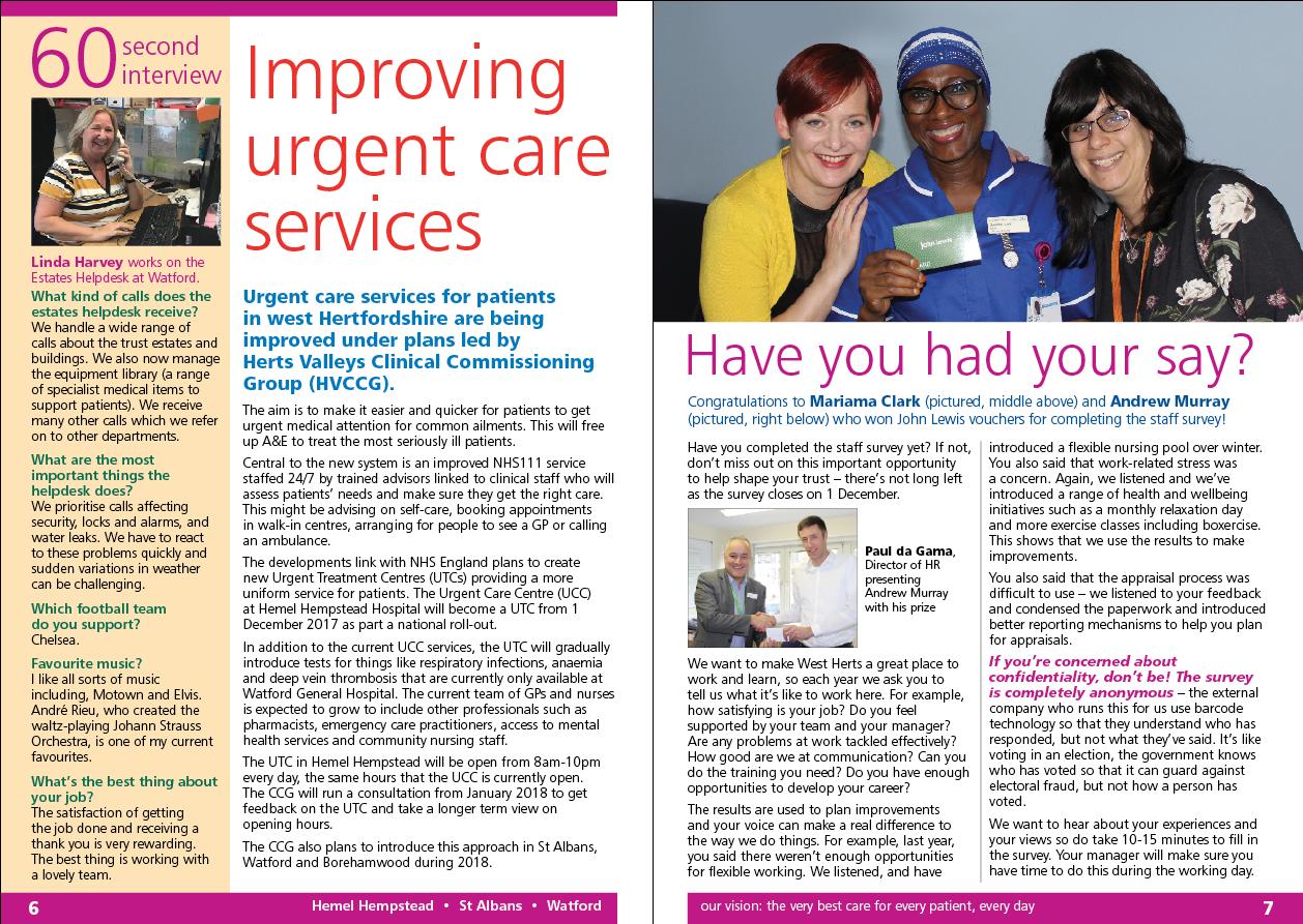 WHHT (West Herts Hospitals Trust) Herts & minds newsletter design