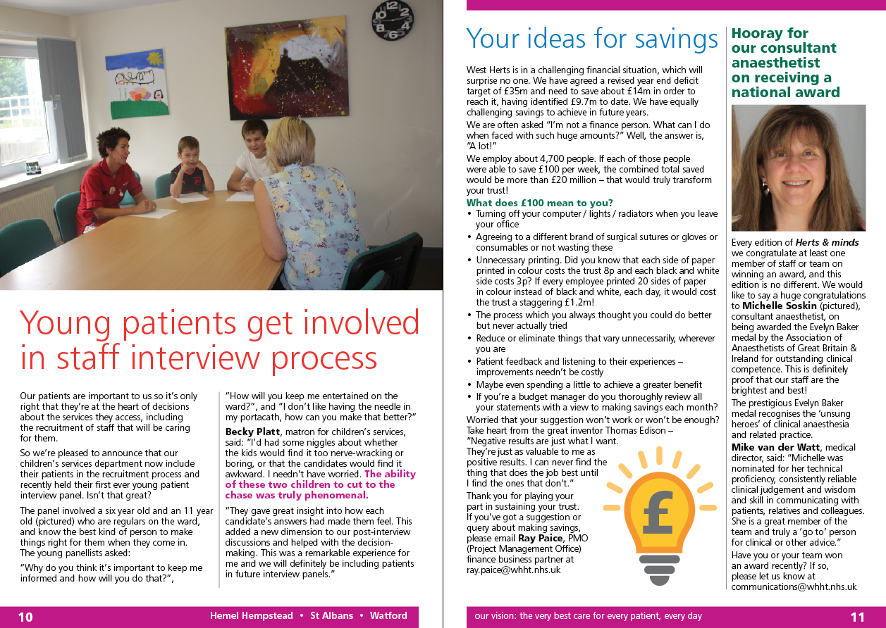 WHHT (West Herts Hospitals Trust) Herts & minds newsletter design