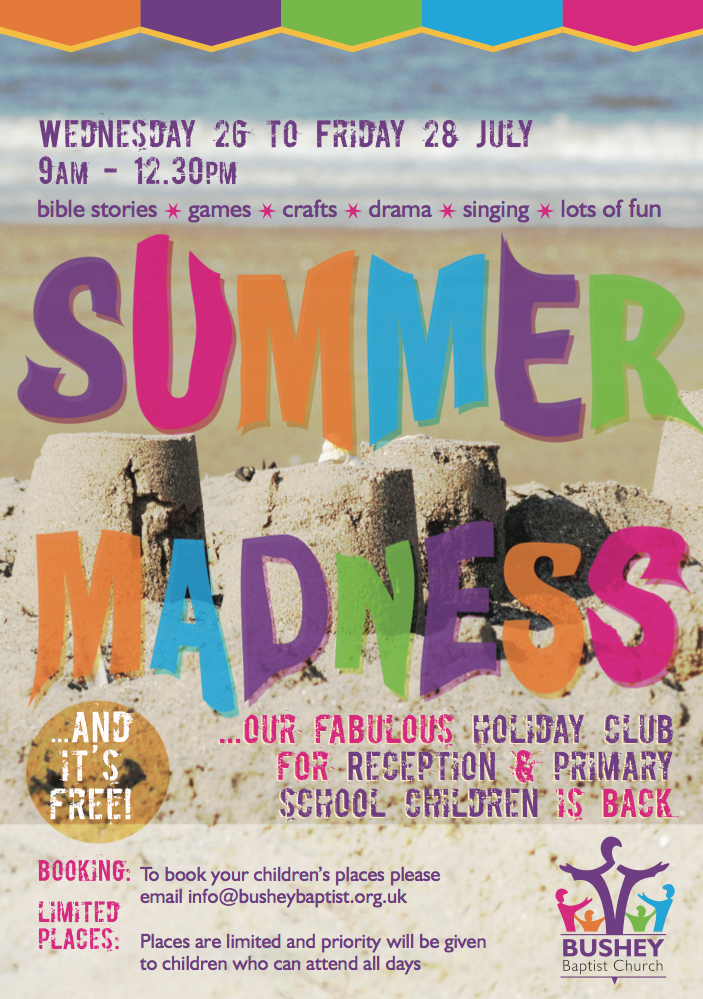 Bushey Baptist Church – children's summer event poster