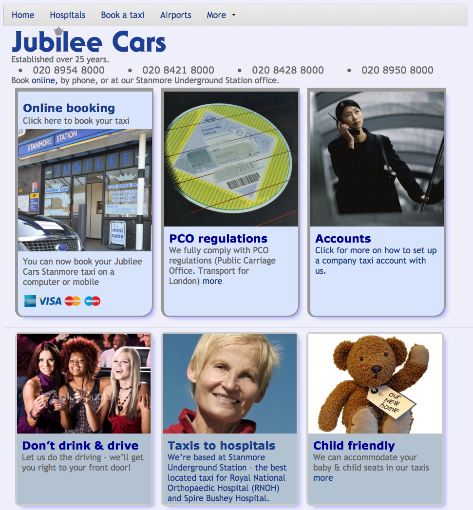 Jubilee Cars Stanmore website design