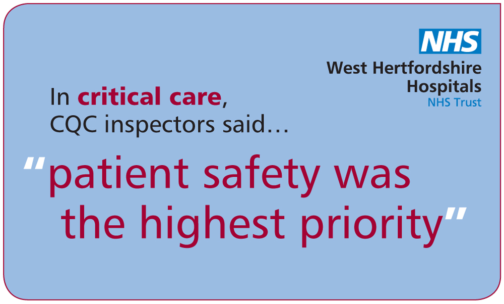 WHHT CQC improvement graphic, Watford General Hospital, design by Peter Magnus Design