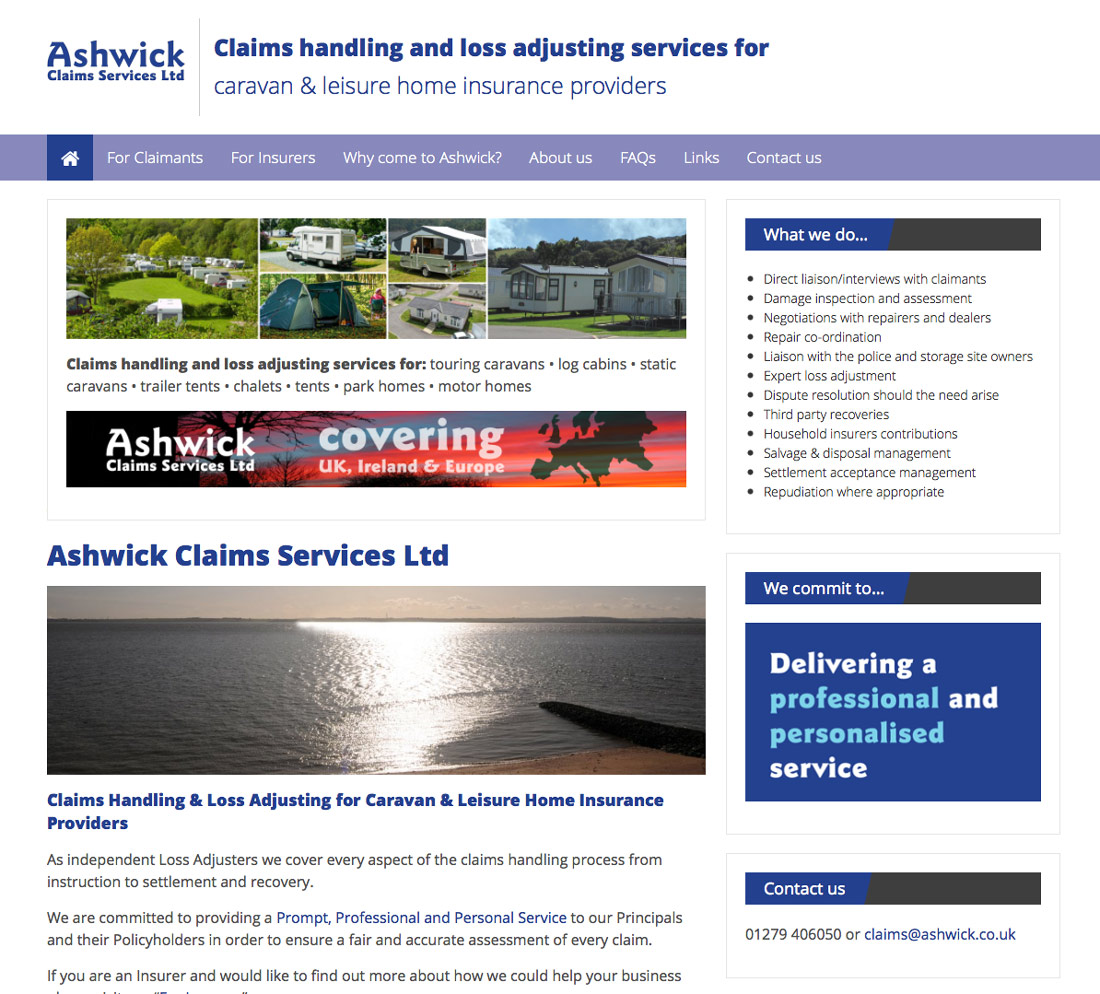 Ashwick Claims Services Ltd. Peter Magnus Design – website design for business