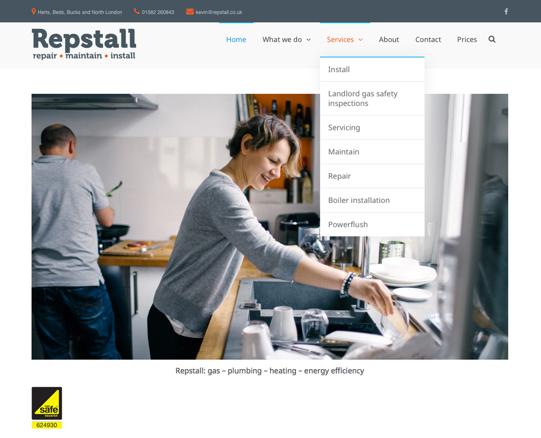 Repstall Ltd (plumbers & heating engineers). Peter Magnus Design website design for business