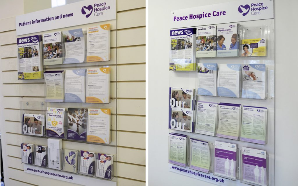 Peace Hospice Care information leaflet holders