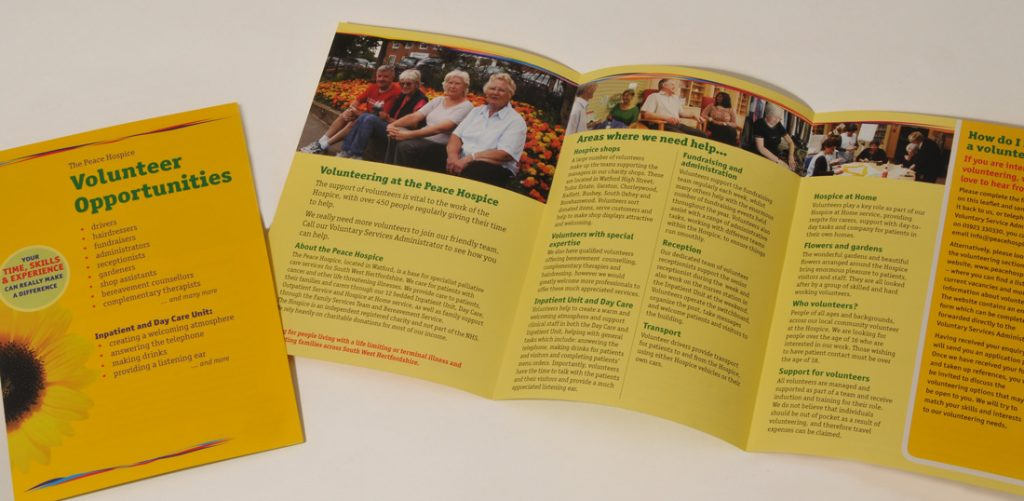 Peace Hospice Care information leaflet design
