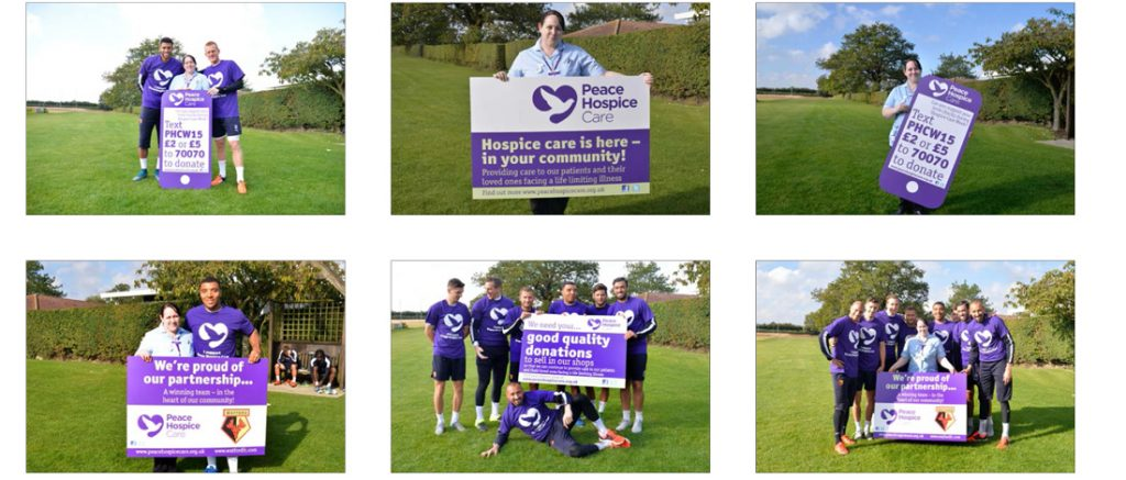 Peace Hospice Care Watford graphic panels for Watford FC promotion