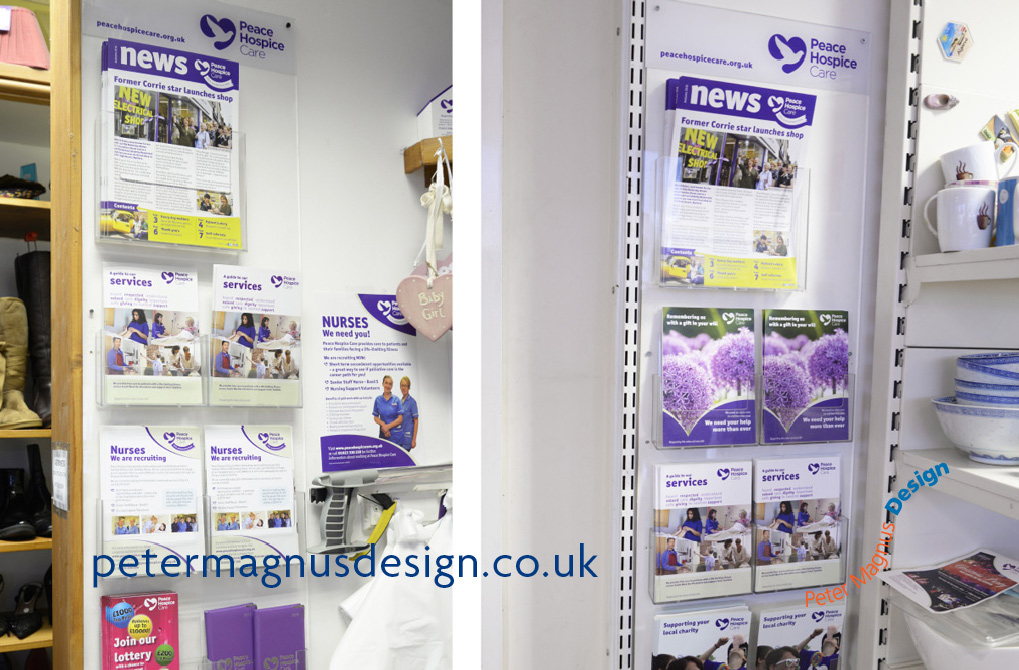 Leaflet holders for charities – Peace Hospice Care, Watford