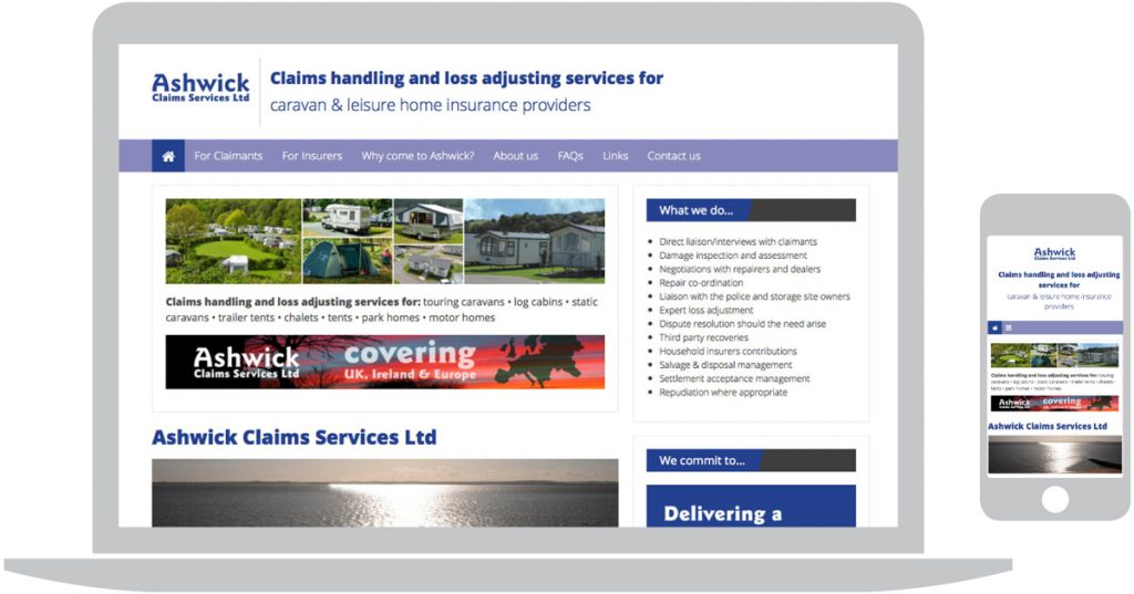 Ashwick Claims Services Ltd website design for business