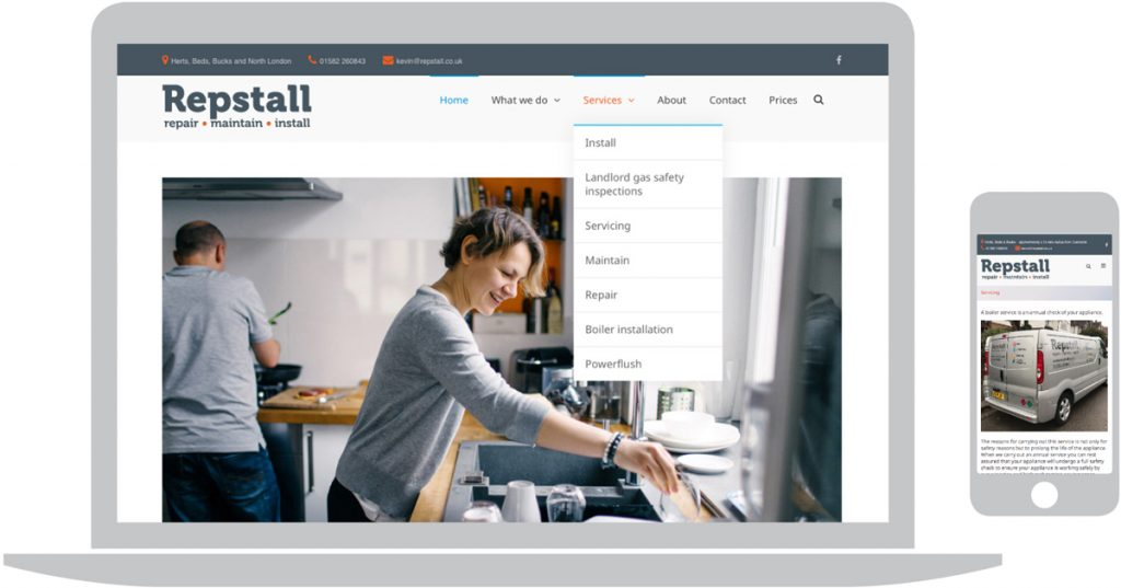 Website design for business start-up, Repstall Ltd in Dunstable