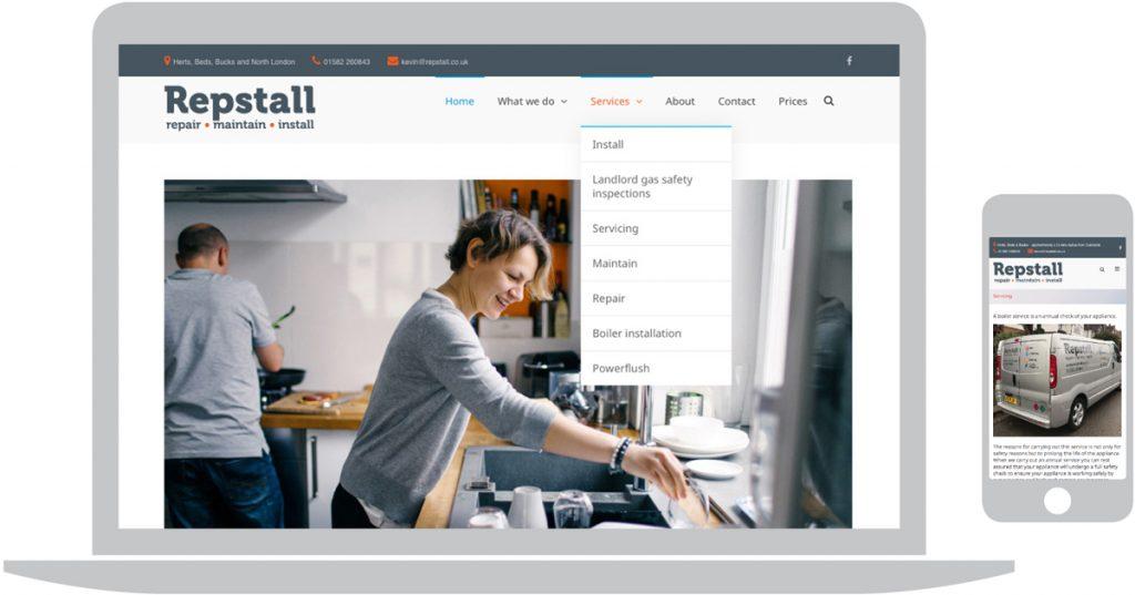 Repstall Ltd (plumbers & heating engineers). Peter Magnus Design website design for business