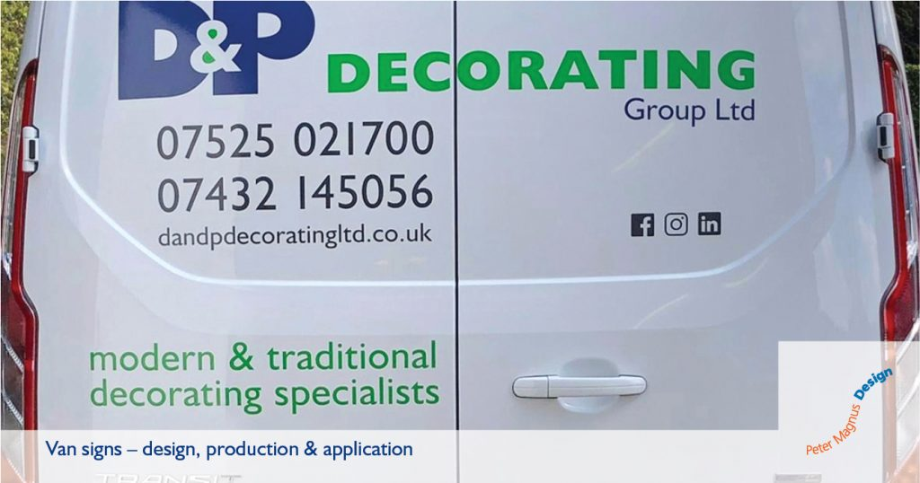 Van signs in Watford, Herts, Peter Magnus Design