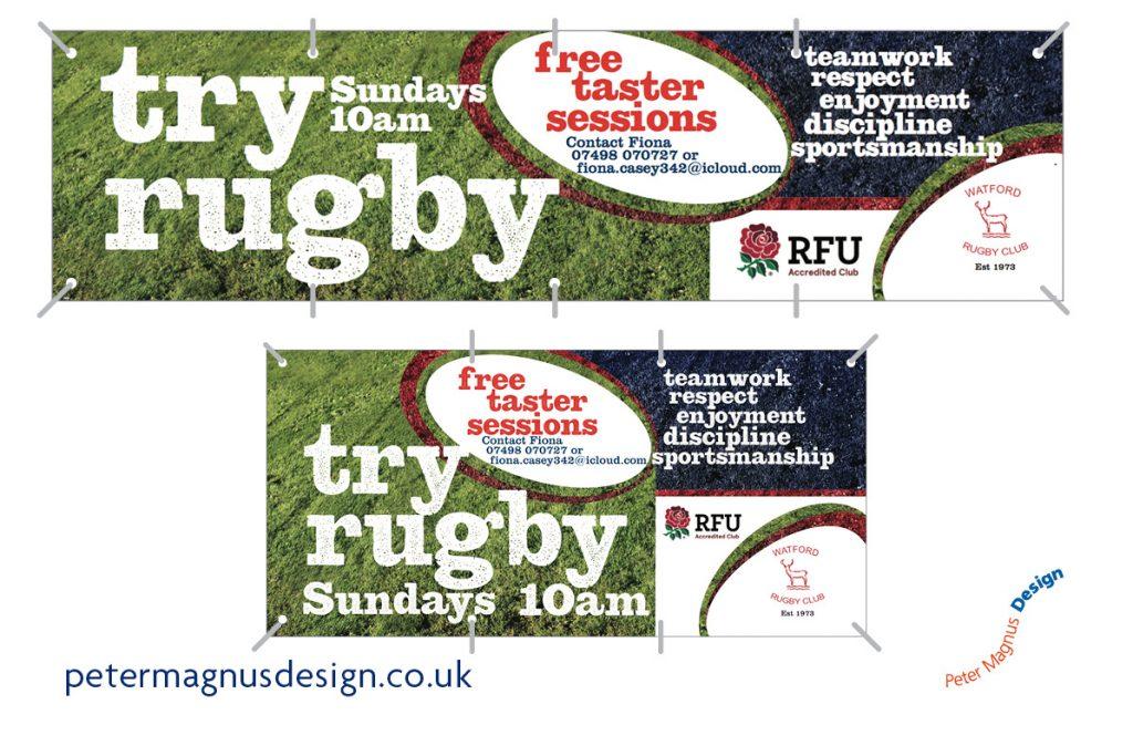 Watford Rugby Club sports graphics – Peter Magnus Design, Watford, Herts